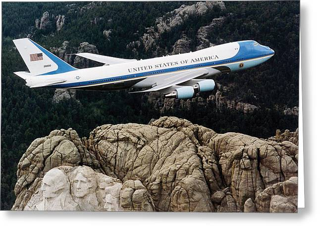 Air Force One Flying Over Mount Rushmore Greeting Card by War Is Hell Store