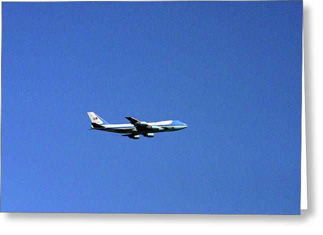 President Obama Greeting Cards - Air Force One In Flight Greeting Card by Duncan Pearson