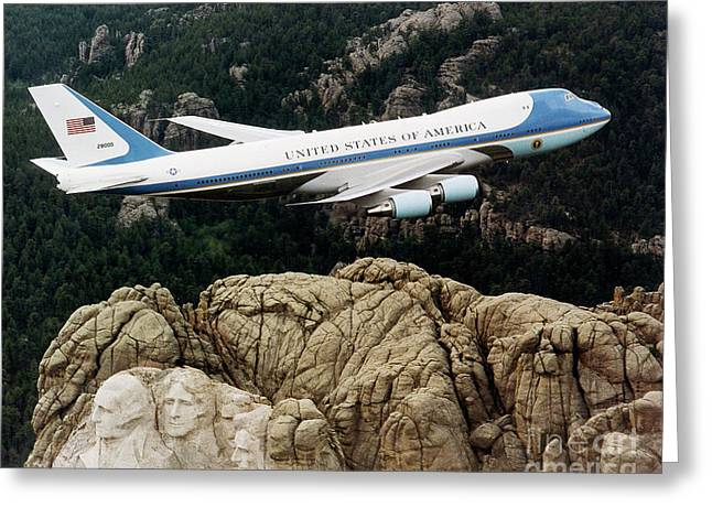 Air Force One Mount Rushmore Fly Over Greeting Card by Pd