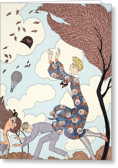 Beaux-arts Greeting Cards - Air Greeting Card by Georges Barbier
