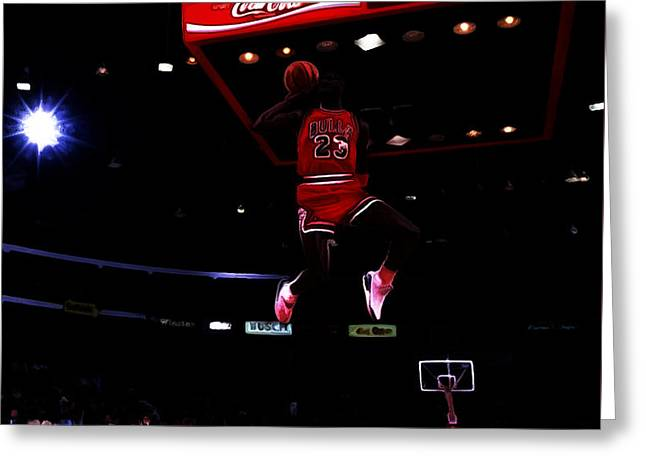 Patrick Ewing Greeting Cards - Air Jordan 1988 Slam Dunk Contest Greeting Card by Brian Reaves