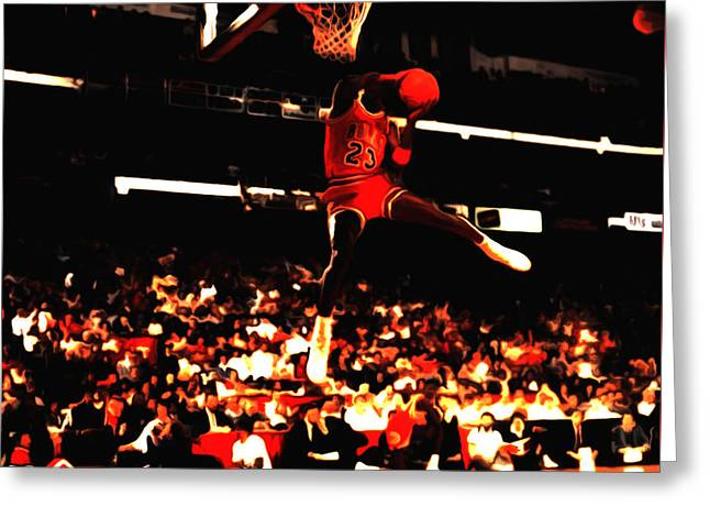 Patrick Ewing Greeting Cards - Air Jordan 1988 Slam Dunk Contest 8c Greeting Card by Brian Reaves