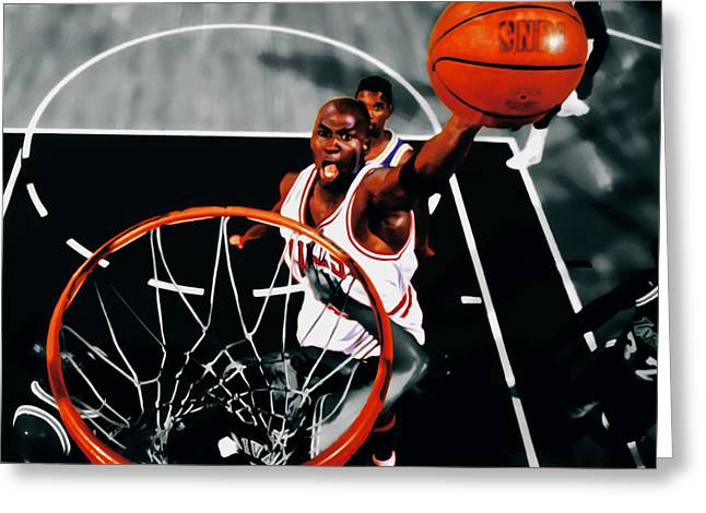Nike Greeting Cards - Air Jordan Above the Rim Greeting Card by Brian Reaves