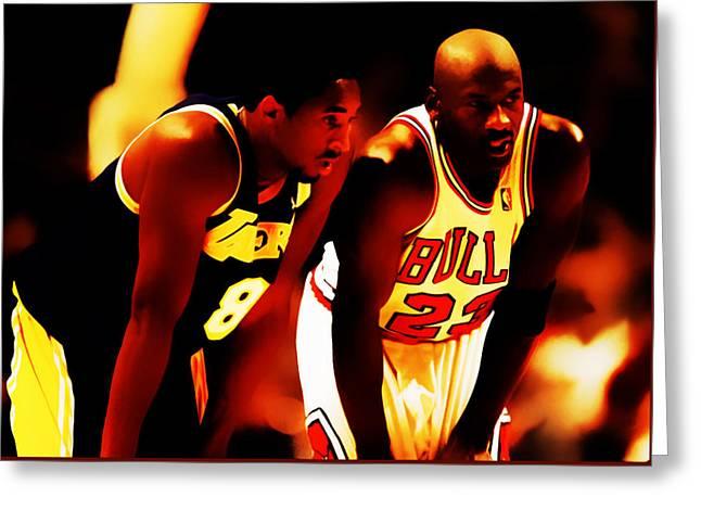 Kobe Mixed Media Greeting Cards - Air Jordan and Kobe Bryant 03c Greeting Card by Brian Reaves