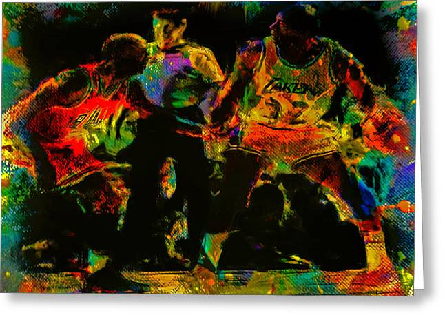 Air Jordan Mixed Media Greeting Cards - Air Jordan and Magic in the Paint Greeting Card by Brian Reaves