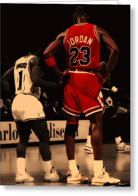 Nike Greeting Cards - Air Jordan and Muggsy Bogues Greeting Card by Brian Reaves