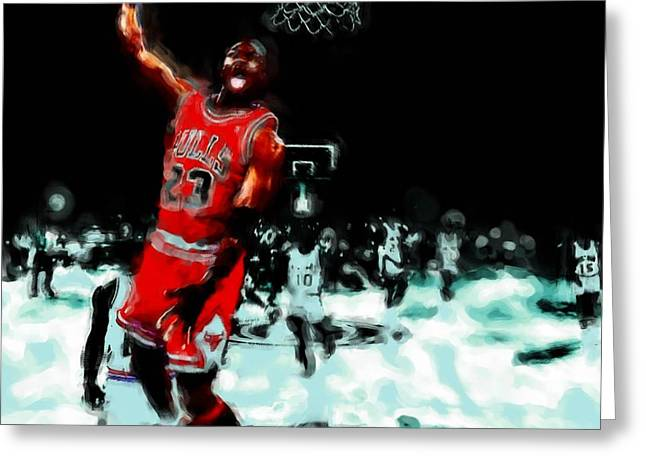Slam Dunk Paintings Greeting Cards - Air Jordan Break Away Greeting Card by Brian Reaves