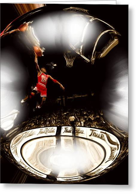 Patrick Ewing Greeting Cards - Air Jordan Bubble Greeting Card by Brian Reaves