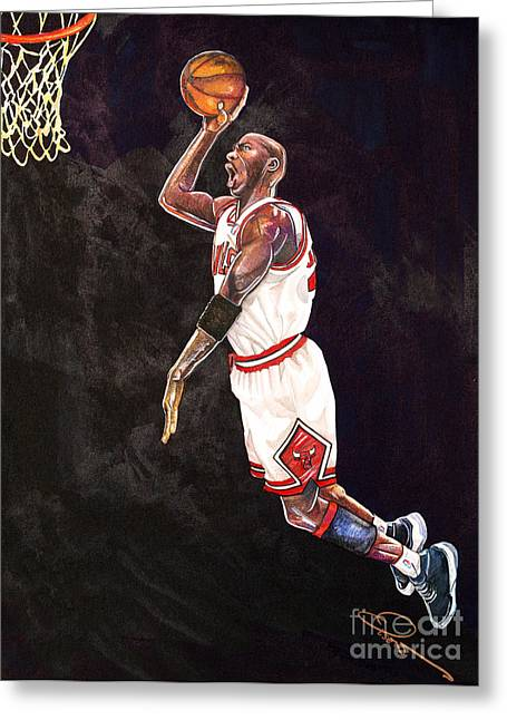 Chicago Bulls Art Drawings Greeting Cards - Air Jordan Greeting Card by Dave Olsen