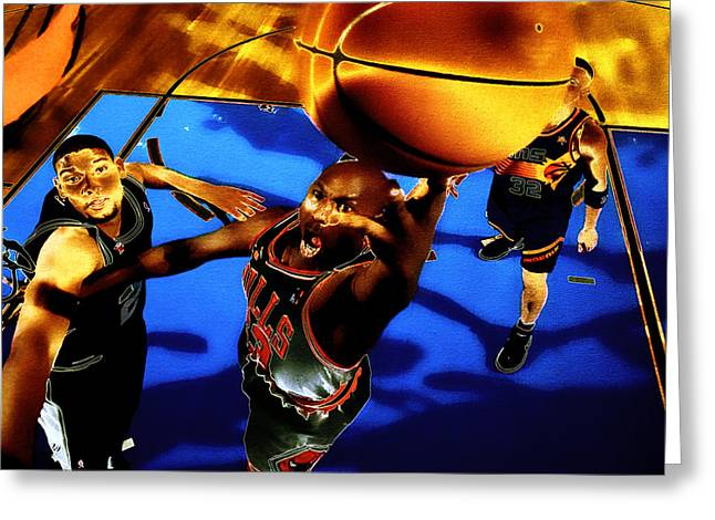 Charles Barkley Greeting Cards - Air Jordan Finger Roll Greeting Card by Brian Reaves