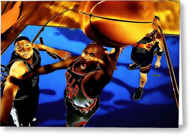 Pippen Digital Art Greeting Cards - Air Jordan Finger Roll Greeting Card by Brian Reaves