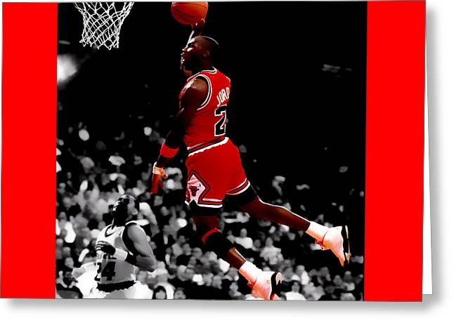Nike Greeting Cards - Air Jordan Flight Path Greeting Card by Brian Reaves