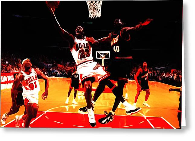 Jordan Mixed Media Greeting Cards - Air Jordan in Flight 3b Greeting Card by Brian Reaves