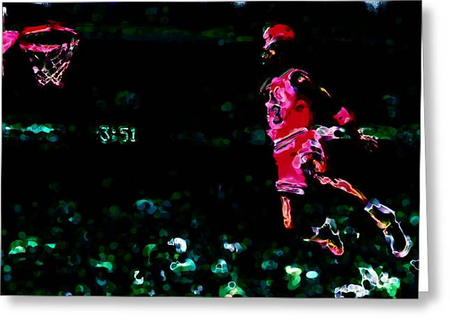 Slam Dunk Paintings Greeting Cards - Air Jordan in Flight Thermal Greeting Card by Brian Reaves