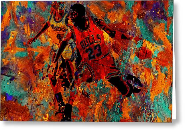 Nike Greeting Cards - Air Jordan in the Paint 02a Greeting Card by Brian Reaves