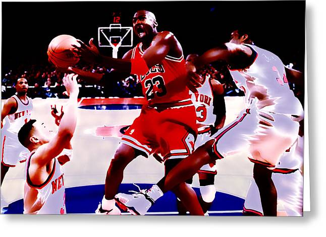 Utah Jazz Greeting Cards - Air Jordan in Traffic Greeting Card by Brian Reaves
