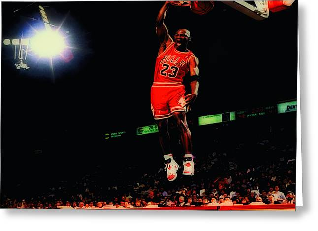 Charles Barkley Greeting Cards - Air Jordan Nasty Slam Greeting Card by Brian Reaves