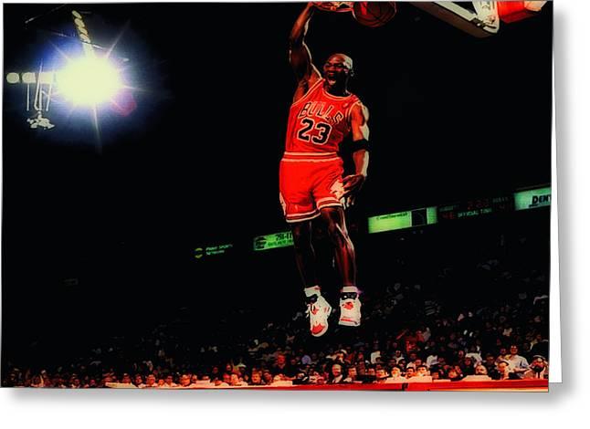 Mj Digital Art Greeting Cards - Air Jordan Nasty Slam Greeting Card by Brian Reaves