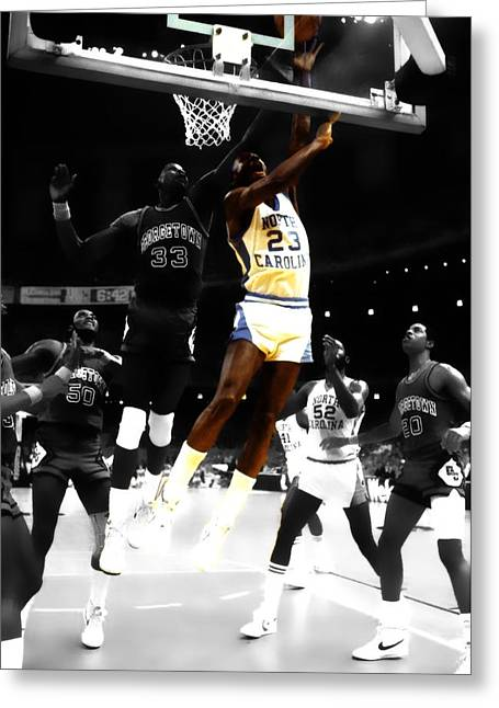 James Worthy Greeting Cards - Air Jordan on Patrick Ewing Greeting Card by Brian Reaves