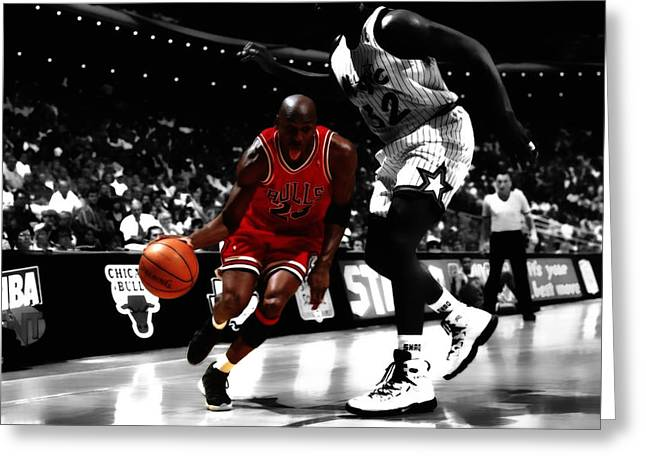 Shaq Greeting Cards - Air Jordan on Shaq Greeting Card by Brian Reaves