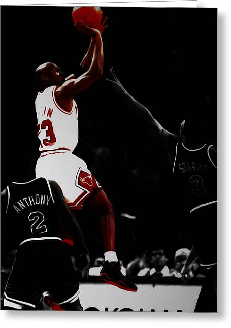 Air Jordan Over John Starks Greeting Card by Brian Reaves