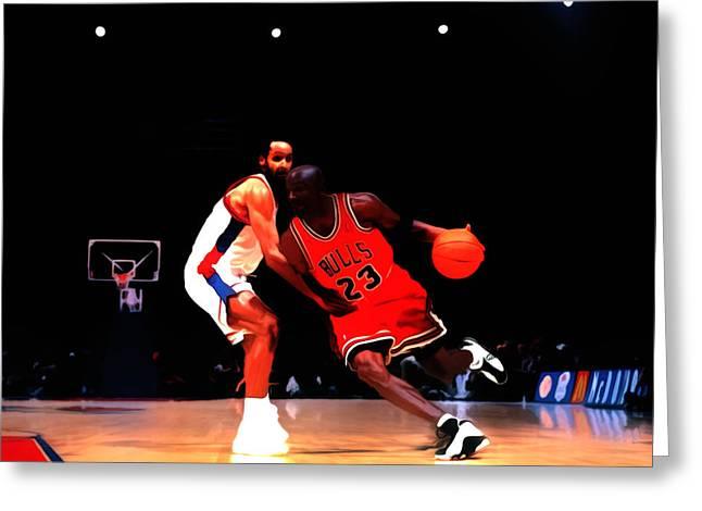 Nike Greeting Cards - Air Jordan Shake Em Off Greeting Card by Brian Reaves