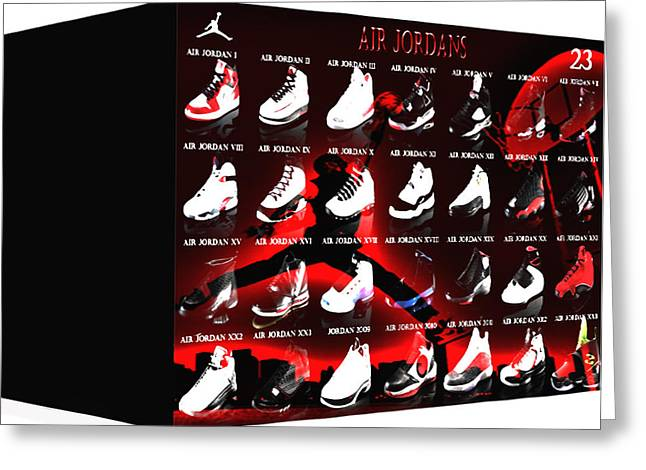 Nike Air Jordan Greeting Cards - Air Jordan Shoe Gallery II Greeting Card by Brian Reaves