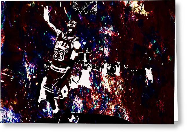 Nike Greeting Cards - Air Jordan Slam in the Paint Greeting Card by Brian Reaves