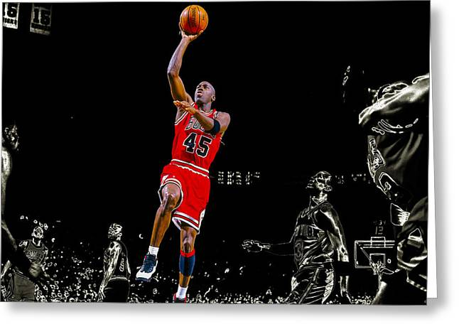 Ewing Mixed Media Greeting Cards - Air Jordan Soaring Greeting Card by Brian Reaves