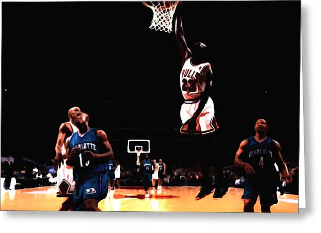 Nike Greeting Cards - Air Jordan Spreading his Wings Greeting Card by Brian Reaves