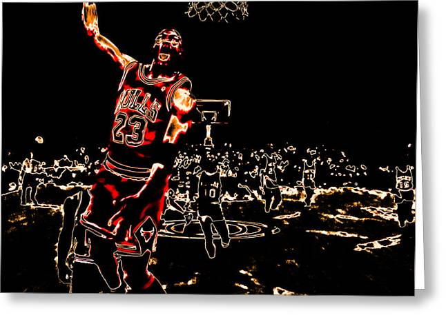 Michael Jordan Greeting Cards - Air Jordan Thermal Greeting Card by Brian Reaves