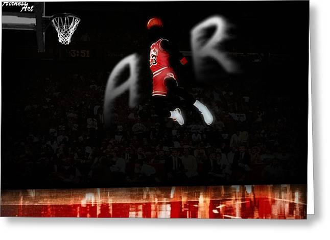 Mj Greeting Cards - Air Mj Greeting Card by Grant Heavey