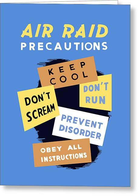 Air Raids Greeting Cards - Air Raid Precautions - WW2 Greeting Card by War Is Hell Store