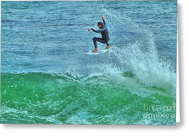 Steamer Lane Greeting Cards - Air Time Greeting Card by Paul Gillham