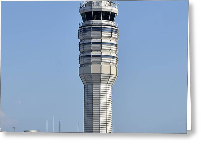 Air Traffic Control Tower at Reagan National Airport Greeting Card by Brendan Reals