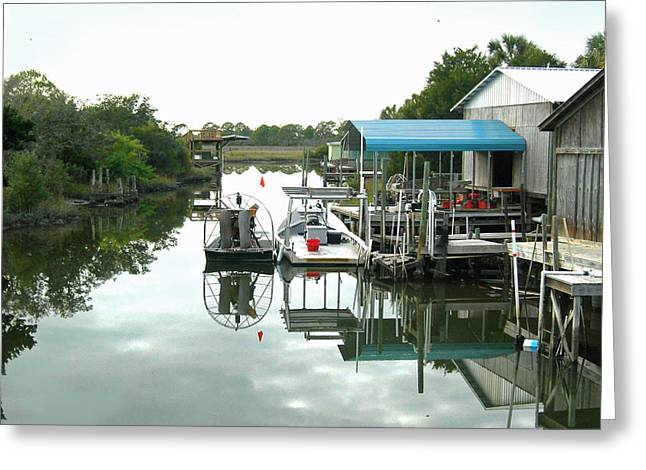 Cedar Key Greeting Cards - Airboat Fishing for a Living Greeting Card by Deborah Ferree