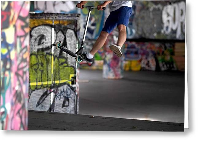 Graffiti Photographs Greeting Cards - Airborne at Southbank Greeting Card by Rona Black