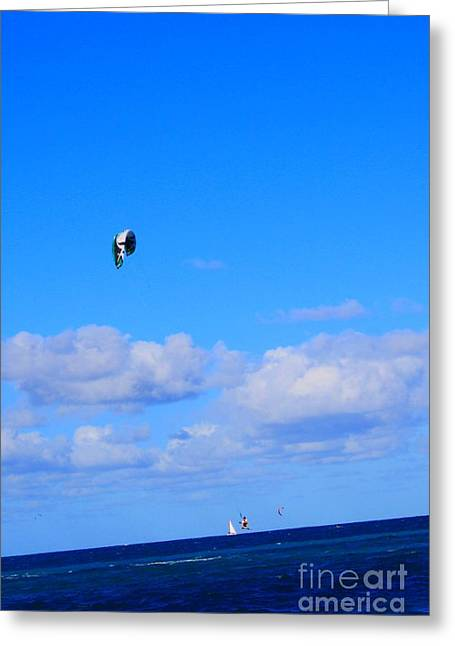 Recently Sold -  - Kite Boarding Greeting Cards - Airborne Kitesurfer  Greeting Card by John W Smith III