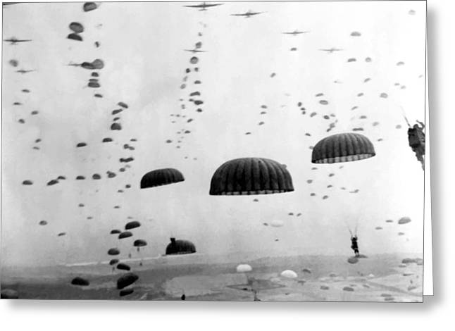 Battle Greeting Cards - Airborne Mission During WW2  Greeting Card by War Is Hell Store