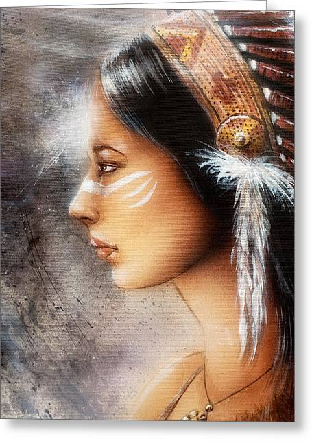 Native American Spirit Portrait Greeting Cards - Airbrush Painting Of A Young Indian Woman. Profile Portrait Greeting Card by Jozef Klopacka
