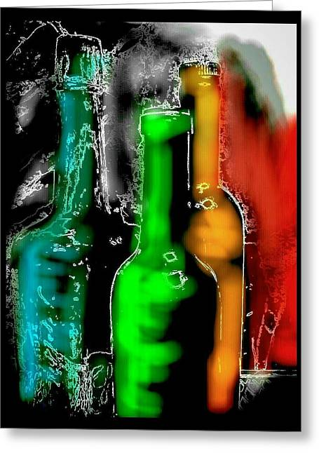 Glass Bottle Greeting Cards - Airbrushed Bottles Greeting Card by Kathy Franklin