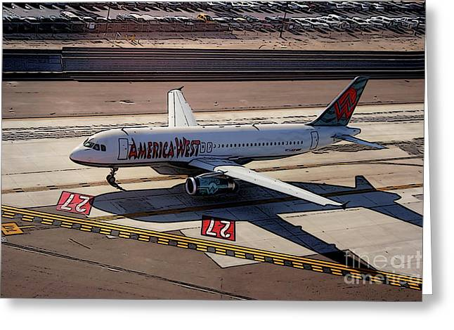 Airbus A320-231 Preparing For Takeoff America West Airlines Greeting Card by Wernher Krutein