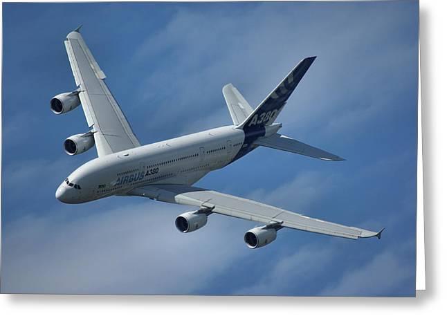 Airbus A380 Greeting Card by Tim Beach