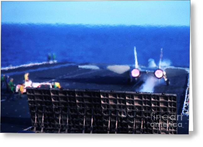 Military Might Greeting Cards - Aircraft Carrier F-14 Launch Greeting Card by Thomas R Fletcher