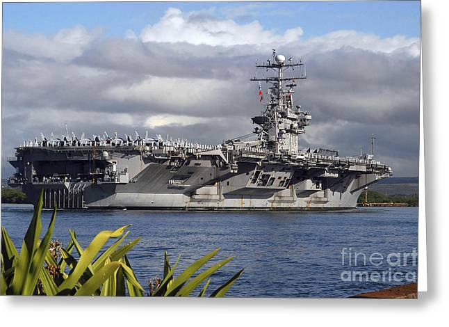 Nimitz-class Greeting Cards - Aircraft Carrier Uss Abraham Lincoln Greeting Card by Stocktrek Images