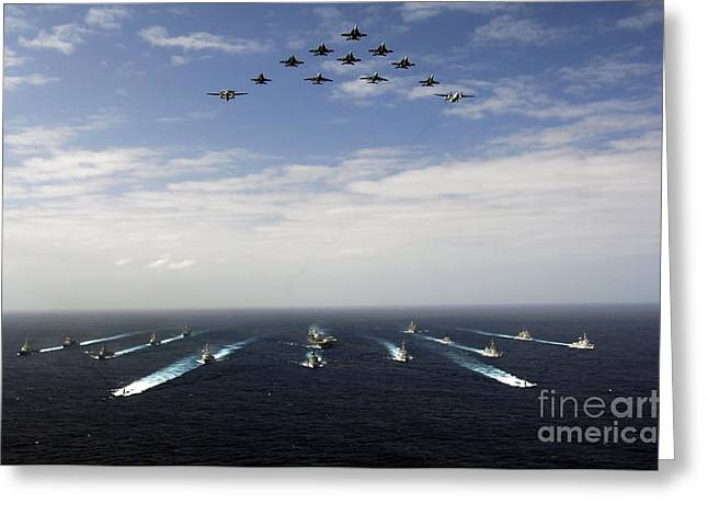 Aircraft Fly Over A Group Of U.s Greeting Card by Stocktrek Images