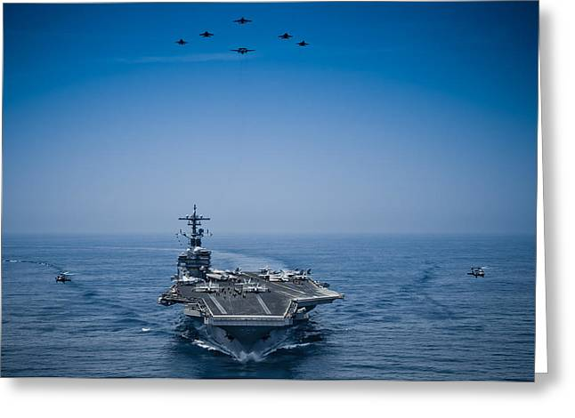 Carrier Greeting Cards - Aircraft from Carrier Air Wing Greeting Card by Celestial Images