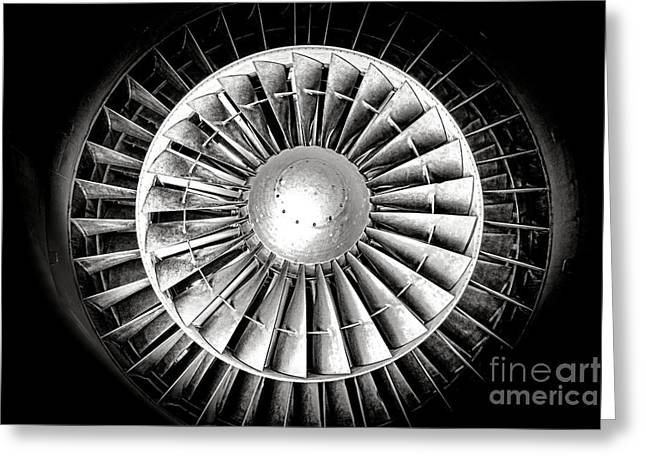 Airplane Engine Greeting Cards - Aircraft Turbofan Engine Greeting Card by Olivier Le Queinec