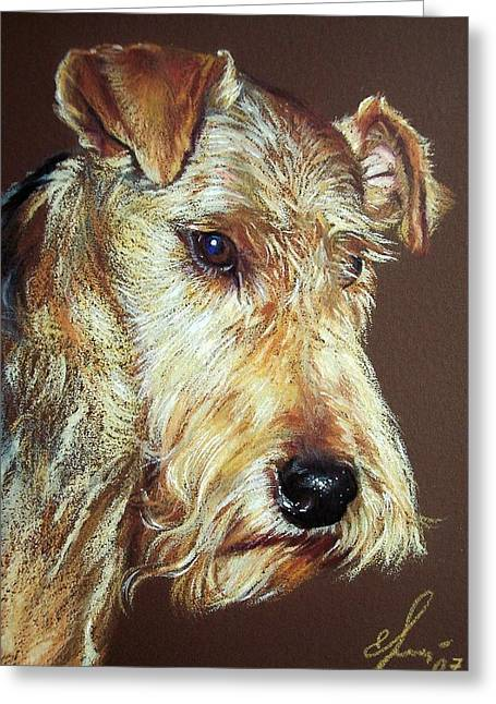 Elena Kolotusha Greeting Cards - Airdale Terrier Greeting Card by Elena Kolotusha