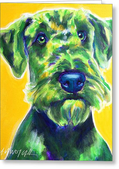 Airedale Terrier - Apple Green Greeting Card by Alicia VanNoy Call